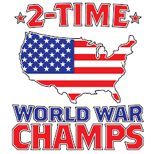 2 time world war champs usa flag map outline patriotic long sleeve