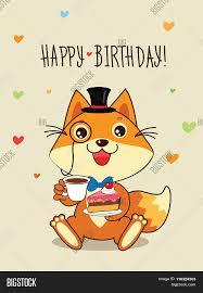 happy birthday card funny fox vector u0026 photo bigstock