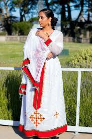 Habesha Dress Candy Red High Waist Eggshell White Zuria