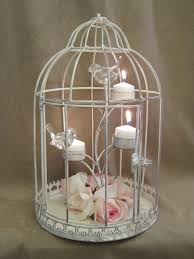 Home Decor Bird Cages Bird Cage Centerpieces Distressed Shabby Bird Cage Candle Holder