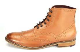 London Brogues Mens Leather Lace Up Wingtip Formal Gatsby Hi
