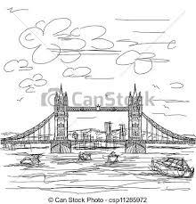 vectors illustration of tower bridge hand drawn illustration of
