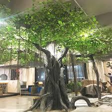large tree trunk banyan tree fiber grass green artificial banyan