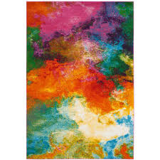 Orange Modern Rug Safavieh Watercolor Orange Green 4 Ft X 6 Ft Area Rug Wtc619d 4