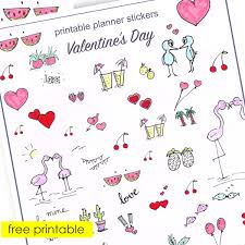 printable stickers valentines free printable planner stickers with lots of love stickers