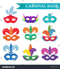 halloween masquerade background masquerade mask set flat style carnival stock vector 536895166