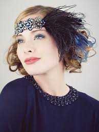flapper headbands deco flapper headband black silver and sapphire blue feather