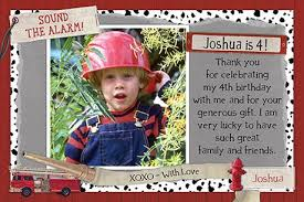 birthday thank you card firefighter birthday thank you cards