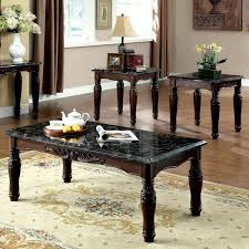 accent table and chairs set furniture of america saxton 3 piece faux marble top coffee end