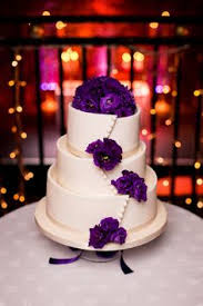 purple lisianthus and freesia wedding cake from little bear cakery