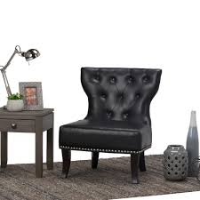 Home Furniture Kitchener Simpli Home Kitchener Black Bonded Leather Accent Chair