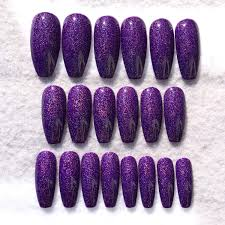 purple sparkle holo fake nails faux nails glue on nails long