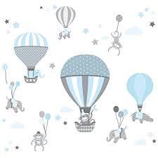 heißluftballon kinderzimmer wand wandsticker air balloons hellblau grau wandtattoo