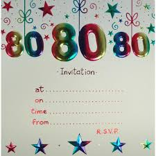colors stylish invitations for an 80th birthday party with