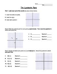 graphing on the coordinate plane worksheet or notes page by mrs