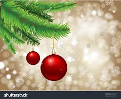 baubles hanging fir tree against stock vector 83628775