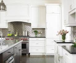kitchen backsplash with white cabinets and white countertops metal backsplash ideas kitchen design metallic backsplash