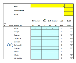 Inventory Excel Template 5 Liquor Inventory Templates Free Excel Pdf Documents