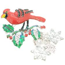 cardinal bird christmas ornament pin brooch fantasyard costume