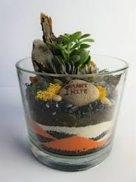 fall sand art and succulents in glass cylinder b sunset beach