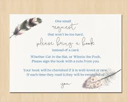 bring a book instead of a card poem bring a book poem baby shower add on to match boho feather