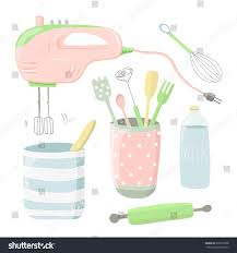 cute kitchen appliances cute vector illustration kitchen tools cartoon stock vector