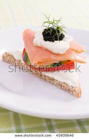 rye bread canapes smoked salmon canape on rye bread stock photo 45909646