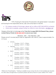 tips class online tips class schedule january through june 2017 alaska