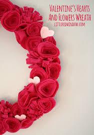 s hearts and flowers felt wreath window