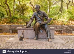 statue of hans christian andersen and the ugly duckling by
