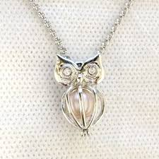 owl necklace pendants images 925 silver owl locket cage can open pearl gem beads cage pendant jpg