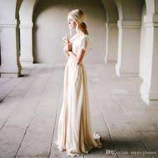 flutter style dress discount bohemian style chagne wedding dress with flutter sleeves