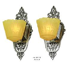 Art Deco Wall Lights Art Deco Wall Sconces Pair Of Antique Slip Shade Lincoln Nile