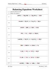 341 balancing equations worksheet answer key medway high