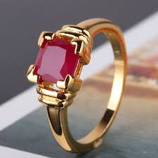 ruby stone rings images 24k yellow gold filled prinecess cut 6mm red ruby solitaire ring jpg
