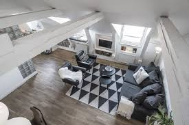 Attic Apartment by Serenity And Elegance Feel Right At Home In A Monochromatic Attic