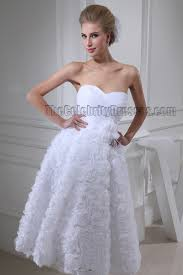 white sweetheart strapless tea length a line cocktail wedding