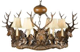 Leather Chandelier 3 Royal Stag Head Chandelier Rustic Chandeliers By