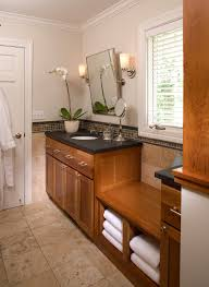 bathroom bench seat bathroom transitional with glass tile ceiling