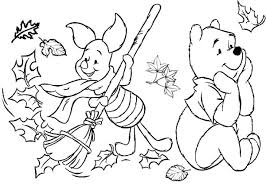 winnie the pooh in autumn season coloring page coloring sun