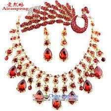 wedding necklace set red images The bride jewelry kits bridal necklace set red marriage jewelry jpg