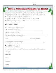 write a christmas metaphor or simile worksheet
