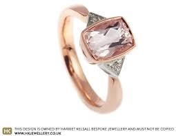gold engagement rings uk dramatic cushion cut morganite and gold engagement ring