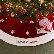 velvet personalized tree skirt in tree