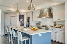 blue kitchen island white and blue kitchen with blue shiplap island cottage kitchen