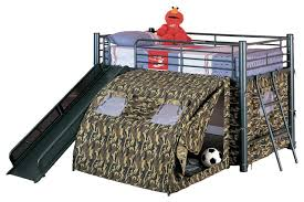 Boys Fun Play Lofted Twin Bunk Bed With Slide Camouflage Tent - Tent bunk bed
