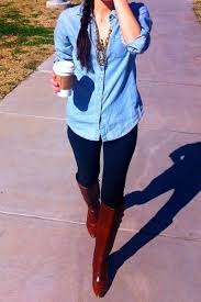 what to wear with light brown boots light jean shirt dark blue jeans brown boots the tres chic