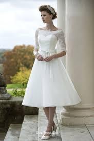 illusion lace half sleeve stylish tea length tulle wedding dress