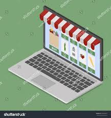 Awning Online Online Shop On Modern Laptop Isometric Stock Vector 556208239
