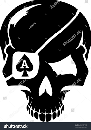 skull cards suits ace stock vector 330107930